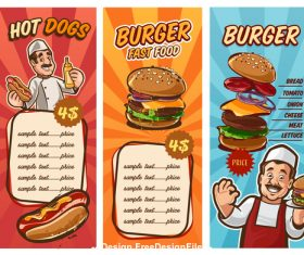 Menu fast food vector