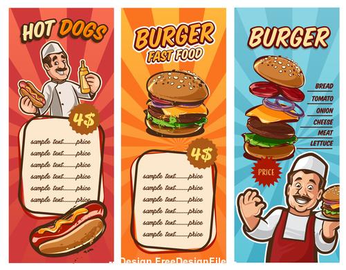 Menu fast food vector