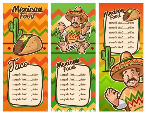 Mexican food menu vector