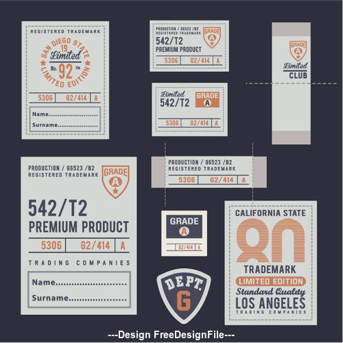 Multiple premium product labels vector
