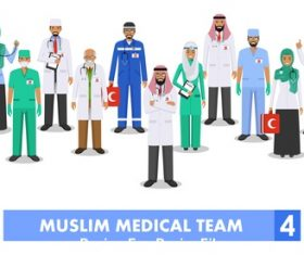 Muslim doctor and nurse vector