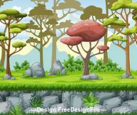 Natural scenery cartoon green tree vector