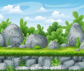 Natural scenery cartoon stone and weed vector