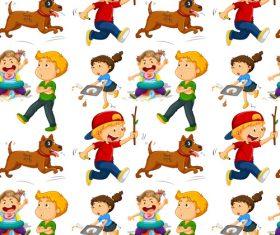 Naughty children Seamless background vector