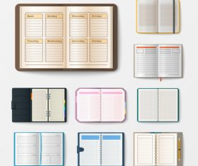 Notebook with pages diary office sheet template booklet vector