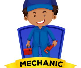 Occupation word card repairman vector