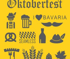 Octoberfest icon set vector