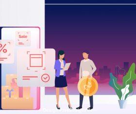 Online shopping survey vector