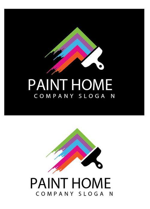 Paint home logo vector