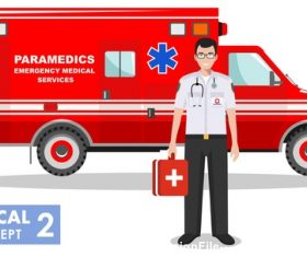 Paramedics and ambulance vector