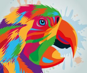 Parrot watercolor illustration vector