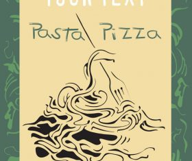 Pasta pizza flyer vector