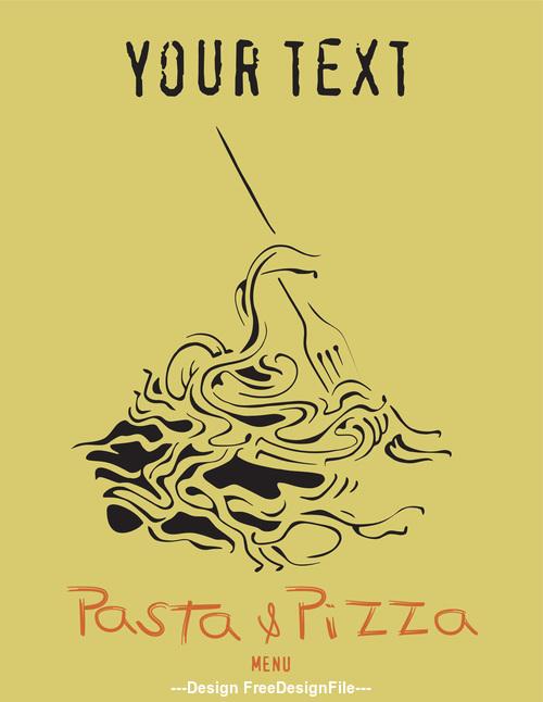 Pasta pizza yellow flyer vector