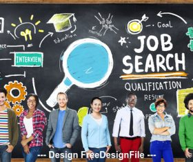 People with job and blackboard stock photo