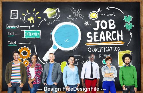 People with job and blackboard stock photo