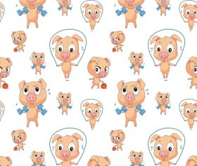Pig cartoon background pattern vector