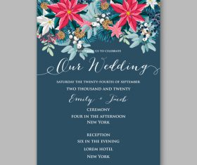 Pine branch and floral wedding invitation template vector
