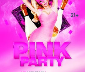 Pink Party Flyer psd template