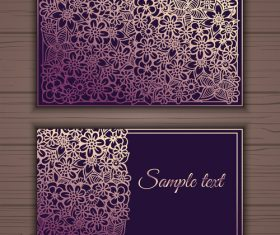 Pink floral ornamental business card vector