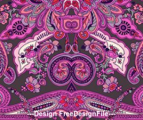 Pink seamless paisley ornament pattern vector