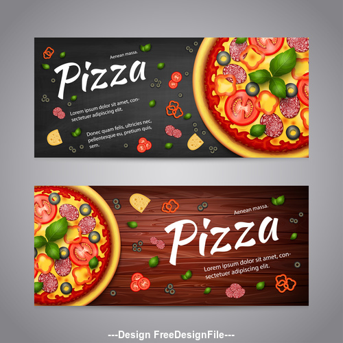 Pizza recipe banner background vector