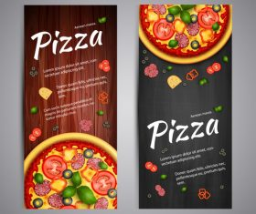 Pizza recipe cover banner vector