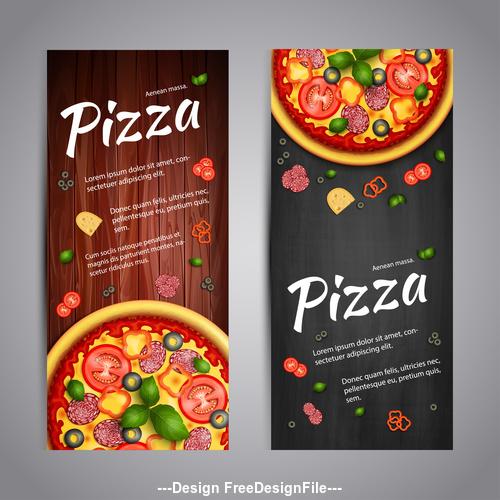 Pizza recipe cover banner vector