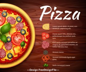 Pizza recipe cover vector