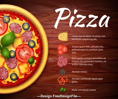 Pizza recipe cover vector