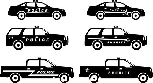 Police silhouette pattern vector