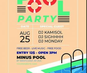 Pool party flyer psd template design