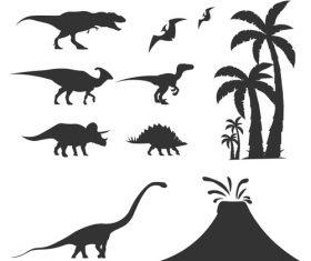 Prehistoric dinosaur silhouette vector