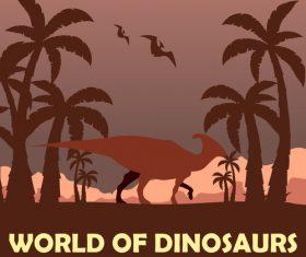 Prehistoric world dinosaurs vector