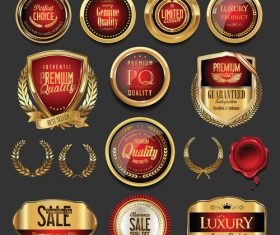 Premium quality golden badges vector