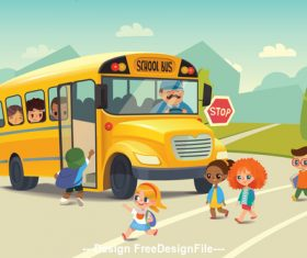 Primary school student and school bus vector