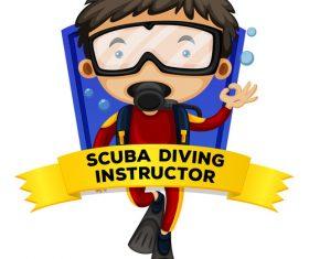 Professional diver cartoon illustration vector