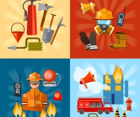 Professional firefighters banners vector