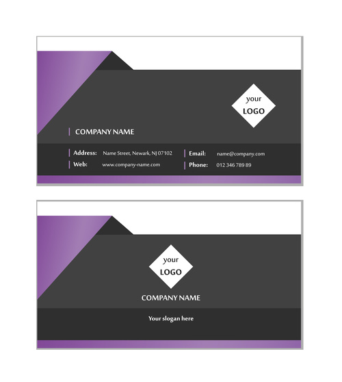 Purple and black graphic business card design vector