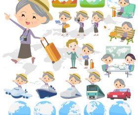 Purple clothes grandmother travel vector