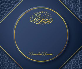 Ramadan Kareem vector dark blue greeting card vector 01