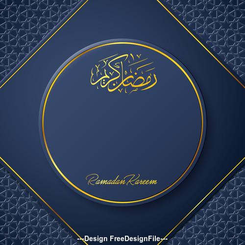 Ramadan Kareem vector dark blue greeting card vector 01