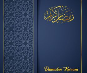 Ramadan Kareem vector dark blue greeting card vector 02