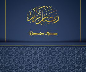 Ramadan Kareem vector dark blue greeting card vector 03