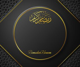 Ramadan Kareem vector dark blue greeting card vector 04