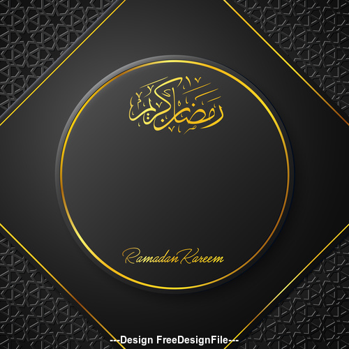 Ramadan Kareem vector dark blue greeting card vector 04