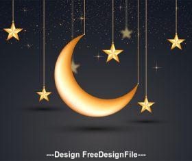 Ramadan festival glittering moon and stars pendant vector
