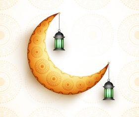 Ramadan festival glittering moon background vector