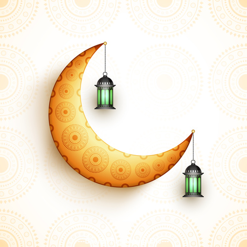 Ramadan festival glittering moon background vector
