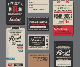 Raw denim tag vector