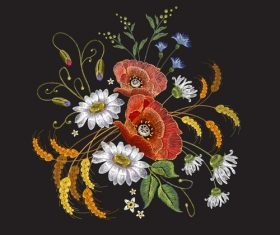 Realistic embroidery flower pattern vector